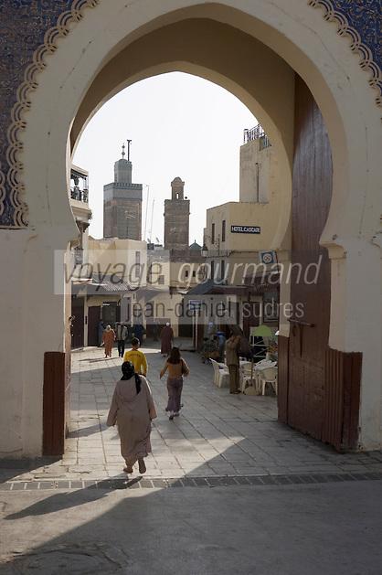 Afrique/Afrique du Nord/Maroc/Fèz: Médina de Fèz-El-Bali la Porte Bleue donne accés à la médina et ses mosquées