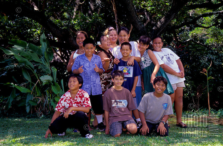 A group of children at Anuenue Hawaiian immersion language school, Palolo valley, Oahu