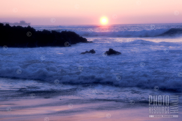 Sunset with beach and ocean, area of Puako, South Kohala District, Island of Hawaii