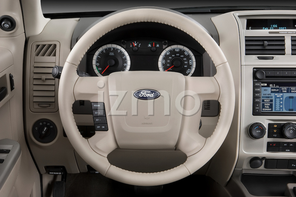 Steering wheel detail view of a 2008 Ford Escape Hybrid