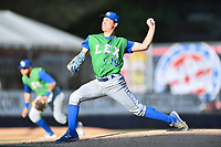 Lexington Legends starting pitcher Garrett Davila (19) delivers a pitch during a game against the  Asheville Tourists at McCormick Field on May 31, 2017 in Asheville, North Carolina. The Tourists defeated the Legends 12-5. (Tony Farlow/Four Seam Images)