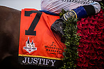 LOUISVILLE, KY - MAY 05: The saddle towel of Justify #7 drips water after the 144th Kentucky Derby at Churchill Downs on May 5, 2018 in Louisville, Kentucky. (Photo by Alex Evers/Eclipse Sportswire/Getty Images)