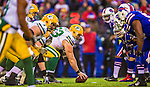 14 December 2014: Green Bay Packers center Corey Linsley prepares to snap in the third quarter against the Buffalo Bills at Ralph Wilson Stadium in Orchard Park, NY. The Bills defeated the Packers 21-13, snapping the Packers' 5-game winning streak and keeping the Bills' 2014 playoff hopes alive. Mandatory Credit: Ed Wolfstein Photo *** RAW (NEF) Image File Available ***