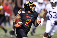 College Park, MD - SEPT 27, 2019: Maryland Terrapins running back Lorenzo Harrison III (2) runs the football during game between Maryland and Penn State at Capital One Field at Maryland Stadium in College Park, MD. The Nittany Lions beat the Terps 50-0. (Photo by Phil Peters/Media Images International)
