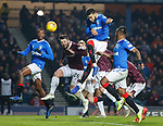 01.12.2019 Rangers v Hearts: Connor Goldson comes close to scoring after a Borna Barisic inswinging cross