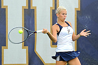 18 March 2012:  FIU's Karyn Guttormsen returns the ball during her singles match against Columbia's Iani Alecsiu as the Columbia Lions defeated the FIU Golden Panthers, 5-2, at University Park in Miami, Florida.
