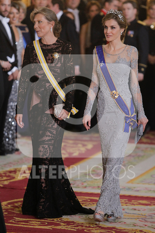 Spanish Royals host a dinner for the Colombian President Juan Manuel Santos and his wife Maria Clemencia Rodriguez in Madrid, Spain. In the pic: Queen Letizia of Spain and Maria Clemencia Rodriguez. March 02, 2015. (Jose Luis Cuesta/POOL/ALTERPHOTOS)