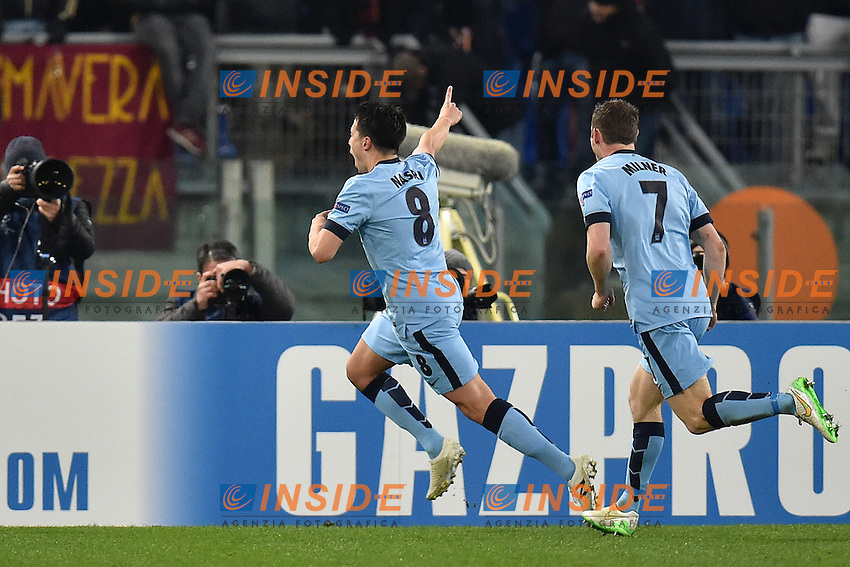 Esultanza dopo il gol di Samir Nasri Manchester Goal celebration <br /> Roma 10-12-2014 Stadio Olimpico, Football Champions League Group Stage Group E . AS Roma - Manchester City. Foto Andrea Staccioli / Insidefoto