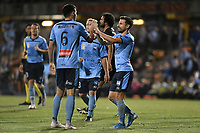 1st November 2019; Leichhardt Oval, Sydney, New South Wales, Australia; A League Football, Sydney Football Club versus Newcastle Jets; Kosta Barbarouses of Sydney and Ryan McGowan of Sydney celebrate after an own goal is scored to make it 3-1 - Editorial Use