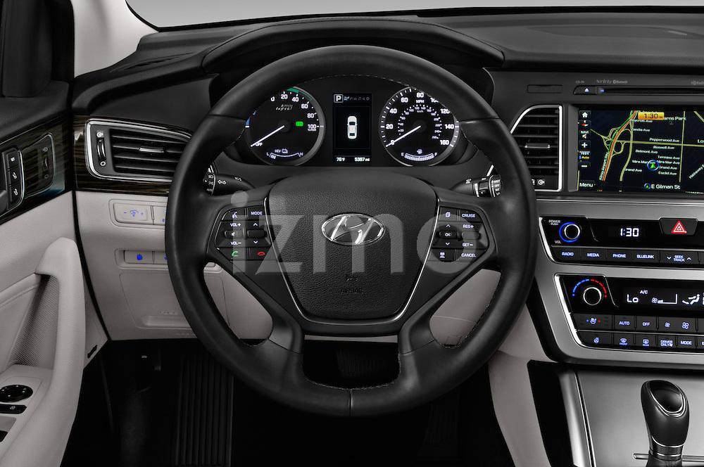 Car pictures of steering wheel view of a 2016 Hyundai Sonata-Plug-in-Hybrid Limited 4 Door Sedan Steering Wheel