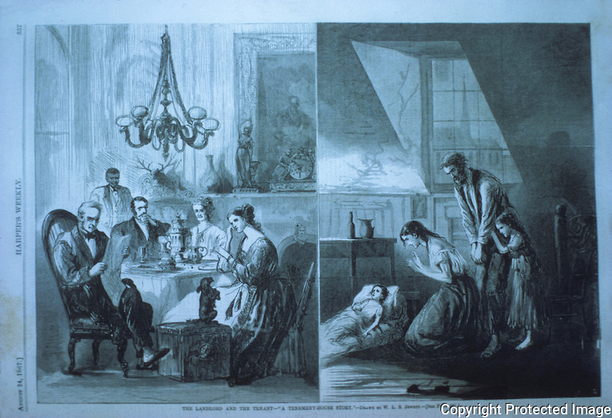 Technology:   Landlord and Tenant 1867. HARPER'S WEEKLY Aug. 24, 1867.