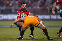 Crusaders' Richie Mo'unga in action during the 2019 Super Rugby final between the Crusaders and Jaguares at Orangetheory Stadium in Christchurch, New Zealand on Saturday, 6 July 2019. Photo: Joe Johnson / lintottphoto.co.nz