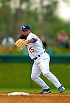 19 March 2006: Rafael Furcal, shortstop for the Los Angeles Dodgers, makes a play during a Spring Training game against the Washington Nationals at Holeman Stadium, in Vero Beach, Florida. The Dodgers defeated the Nationals 9-1 in Grapefruit League play...Mandatory Photo Credit: Ed Wolfstein Photo..
