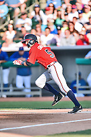 Mississippi Braves shortstop Dansby Swanson (5) runs to first during a game against the Tennessee Smokies at Smokies Stadium on May 7, 2016 in Kodak, Tennessee. The Smokies defeated the Braves 5-3. (Tony Farlow/Four Seam Images)