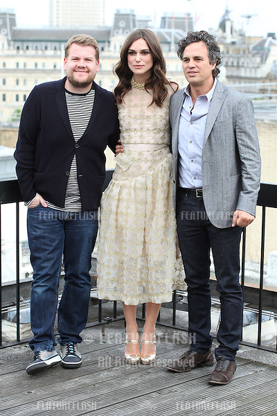 James Corden, Keira Knightley and Mark Ruffalo attend a photocall for 'Begin Again', London. 02/07/2014 Picture by: Alexandra Glen / Featureflash