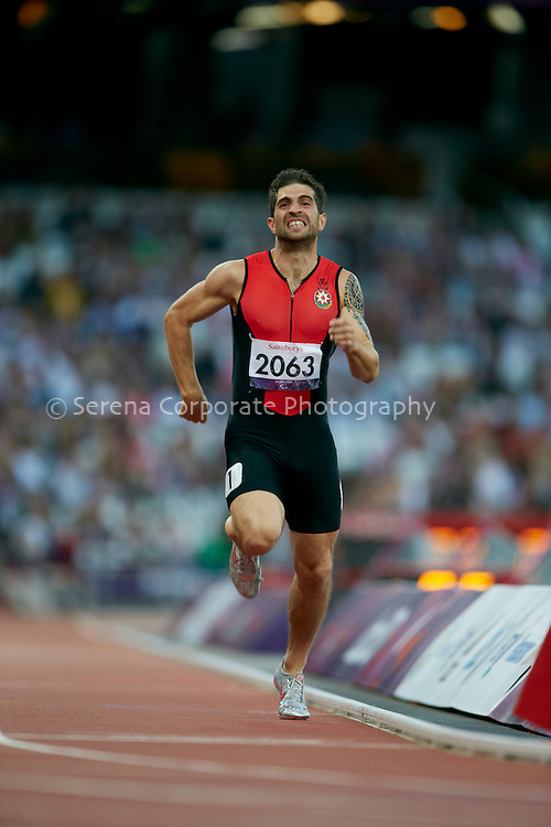 Rza Osmanov competes inthe men's T12 200m heats, but fails to qualify for the final..London Paralympic Games - Athletics 7.9.12