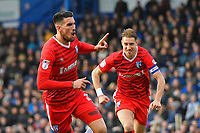 Conor Wilkinson of Gillingham (l) celebrates scoring Gillingham 's first goal with captain Lee Martin  during Portsmouth vs Gillingham, Sky Bet EFL League 1 Football at Fratton Park on 10th March 2018