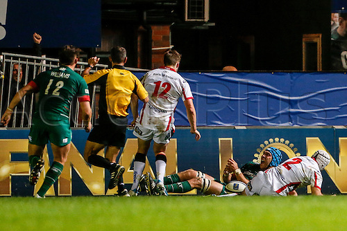 18.10.2014.  Leicester, England.  European Rugby Champions Cup. Leicester Tigers versus Ulster.  Graham Kitchener of Leicester Tigers scores a try.