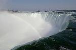 Niagara Falls, Ontario, Canada - 01 August 2006---The Niagara River falling horseshoe-wise / Horseshoe Falls with rainbow---nature---Photo: © HorstWagner.eu