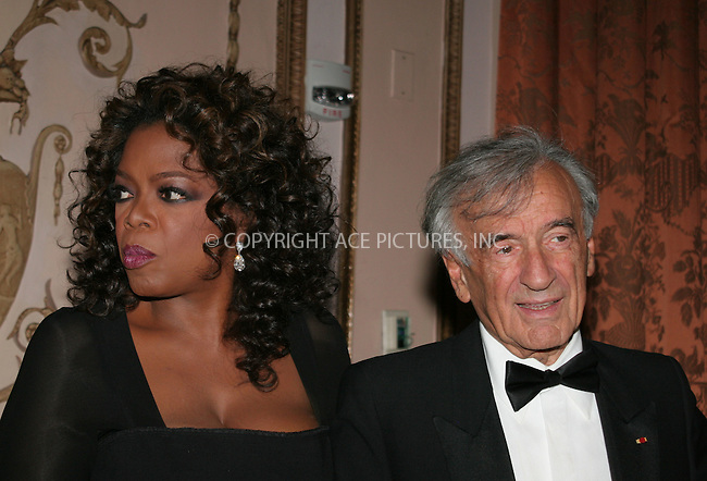 WWW.ACEPIXS.COM . . . . . ....May 20 2007, New York City....Humanitarian Award winner Oprah Winfrey and Elie Wiesel attend The Elie Wiesel Foundation for Humanity Award Dinner at the Waldorf-Astoria hotel in Midtown Manhattan.....Please byline: NANCY RIVERA- ACE PICTURES.... *** ***..Ace Pictures, Inc:  ..tel: (646) 769 0430..e-mail: info@acepixs.com..web: http://www.acepixs.com