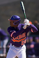 Chris Epps (26) of the Clemson Tigers at bat versus the Wake Forest Demon Deacons during the first game of a double header at Gene Hooks Stadium in Winston-Salem, NC, Sunday, March 9, 2008.