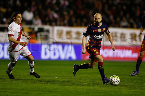 03.03.2016. Madrid, Spain.  Andres Iniesta Lujan (8) FC Barcelona. La Liga match between Rayo Vallecano and FC Barcelona at the Vallecas stadium in Madrid, Spain