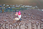 Valarie and Lily Morris Cromane at the demolished playground at Rossbeigh on Monday