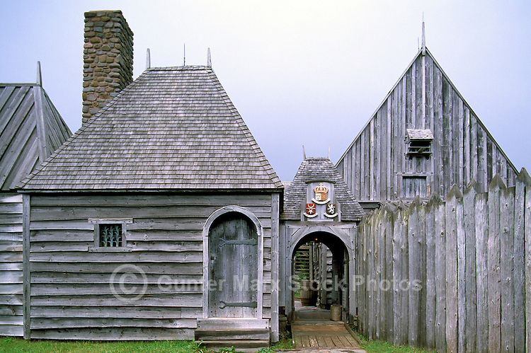 Port-Royal National Historic Site (NHS), Annapolis Royal, NS, Nova Scotia, Canada - Gatehouse of Reconstructed 17th Century French Habitation - Fundy Shore & Annapolis Valley Region