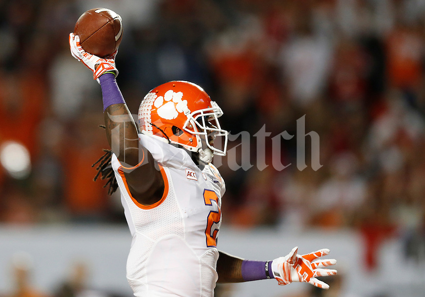 Clemson Tigers wide receiver Sammy Watkins (2) reacts as he runs in a touchdown in the first quarter of the Discover Orange Bowl between Ohio State and Clemson at Sun Life Stadium in Miami Gardens, Florida, Friday night, January 3, 2014. As of half time the Ohio State Buckeyes led the Clemson Tigers 22 - 20.(The Columbus Dispatch / Eamon Queeney)