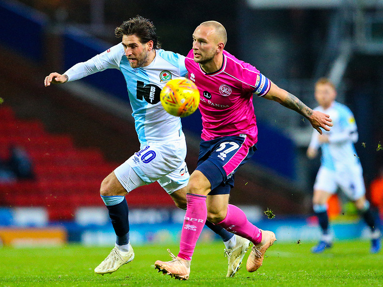 Blackburn Rovers' Danny Graham vies for possession with Queens Park Rangers' Toni Leistner<br /> <br /> Photographer Alex Dodd/CameraSport<br /> <br /> The EFL Sky Bet Championship - Blackburn Rovers v Queens Park Rangers - Saturday 3rd November 2018 - Ewood Park - Blackburn<br /> <br /> World Copyright © 2018 CameraSport. All rights reserved. 43 Linden Ave. Countesthorpe. Leicester. England. LE8 5PG - Tel: +44 (0) 116 277 4147 - admin@camerasport.com - www.camerasport.com