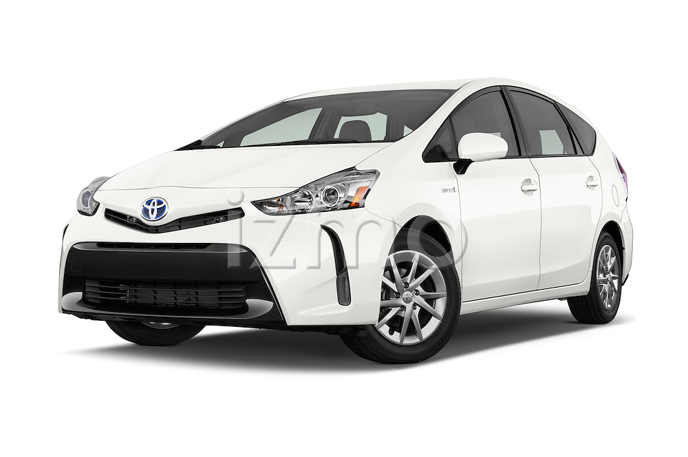 Stock pictures of low aggressive front three quarter view of a 2015 Toyota Prius V Four 5 Door MPV