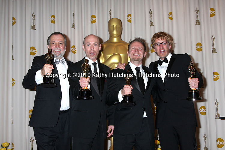 (L-R) Joe Letteri, Stephen Rosenbaum, Richard Baneham and Andrew Jones, winners of Best Visual Effects for 'Avatar,.in the Press Room of the 82nd Academy Awards.Kodak Theater.Los Angeles, CA.March 7, 2010.©2010 Kathy Hutchins / Hutchins Photo....