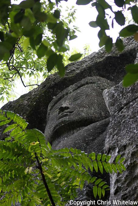 Rock-cut Standing Buddha statue (4 metres), Dowa Temple, Bandarawela, Sri Lanka