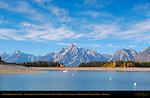 Colter Bay, Jackson Lake, Grand Tetons, Cathedral Group, Mount Moran, Bivouac Peak, Grand Teton National Park, Wyoming