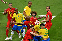 KAZAN - RUSIA, 06-07-2018: Jugadores de Brasil y Bélgica en partido de cuartos de final por la Copa Mundial de la FIFA Rusia 2018 jugado en el estadio Kazan Arena en Kazán, Rusia. / Players of Brazil and Belgium in match of quarter final for the FIFA World Cup Russia 2018 played at Kazan Arena stadium in Kazan, Russia. Photo: VizzorImage / Julian Medina / Cont