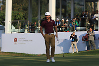 Tommy Fleetwood (ENG) on the 18th green during Round 4 of the UBS Hong Kong Open, at Hong Kong golf club, Fanling, Hong Kong. 26/11/2017<br /> Picture: Golffile | Thos Caffrey<br /> <br /> <br /> All photo usage must carry mandatory copyright credit     (&copy; Golffile | Thos Caffrey)