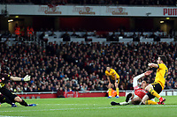 Joao Moutinho of Wolves and Hector Bellerin of Arsenal during Arsenal vs Wolverhampton Wanderers, Premier League Football at the Emirates Stadium on 11th November 2018
