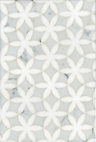 Fiona, a waterjet mosaic shown in polished Thassos and Carrara, is part of the Silk Road collection by Sara Baldwin for New Ravenna.