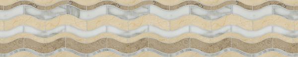 "7 3/4"" Waves border, a waterjet stone mosaic, shown in honed Jura Grey, polished Calacatta Tia, and Crema Marfil."