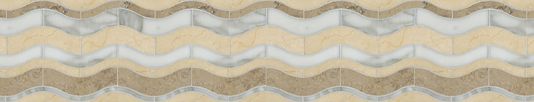 "7 3/4"" Waves border, a waterjet stone mosaic, shown in honed Jura Grey, polished Calacatta Tia, and Crema Marfil."
