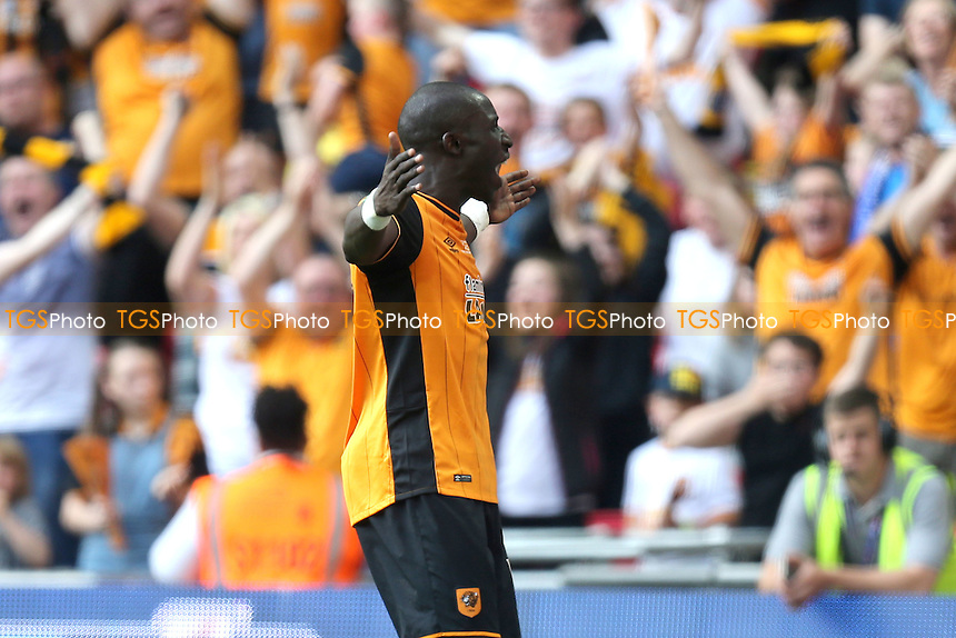 Mohamed Diame of Hull City celebrates scoring the opening goal during Hull City vs Sheffield Wednesday, Sky Bet Championship Play-Off Final Football at Wembley Stadium on 28th May 2016