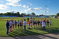 Representatives from Perry Elementary School national anthem before Batavia Muckdogs game against the Mahoning Valley Scrappers on June 23, 2015 at Dwyer Stadium in Batavia, New York.  Mahoning Valley defeated Batavia 11-2.  (Mike Janes/Four Seam Images)