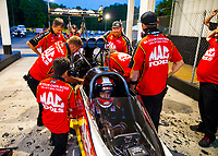 May 4, 2018; Commerce, GA, USA; Crew members for NHRA top fuel driver Doug Kalitta during qualifying for the Southern Nationals at Atlanta Dragway. Mandatory Credit: Mark J. Rebilas-USA TODAY Sports