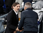 Phillip Cocu manager of Derby County greets Keith Curle manager of Northampton during the FA Cup match at the Pride Park Stadium, Derby. Picture date: 4th February 2020. Picture credit should read: Darren Staples/Sportimage