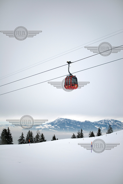 The cable car that runs from Kriens to the summit of Mount Pilatus.