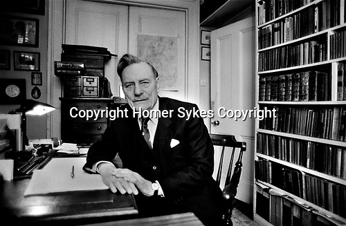 Enoch Powell at home London 1983<br /> <br /> My ref 34/4960/, 1983,