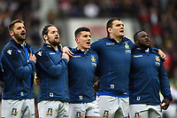 Angelo Esposito, Michele Campagnaro, Tommaso Allan, David Sisi and Cherif Traore of Italy sing their national anthem. Guinness Six Nations match between England and Italy on March 9, 2019 at Twickenham Stadium in London, England. Photo by: Patrick Khachfe / Onside Images