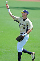 22 April 2012:  FIU outfielder Nathan Burns (6) throws the ball back to the infield as the University of Arkansas Little Rock Trojans defeated the FIU Golden Panthers, 7-6, at University Park Stadium in Miami, Florida.