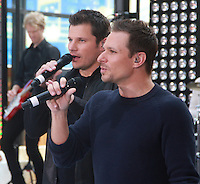 August 17, 2012 Drew Lachey, Nick Lachey 98 Degrees perform on the NBC's Today Show Toyota Concert Serie at Rockefeller Center in New York City.Credit:&copy; RW/MediaPunch Inc. /NortePhoto.com<br />