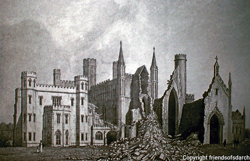 Fonthill Abbey in ruins, 1825. Historical photo. Also known as Beckford's Folly, a large Gothic revival country house built between 1796 and 1813 at Fonthill Gifford in Wiltshire, England, at the direction of William Thomas Beckford and architect James Wyatt. Collapse was caused by improper foundations.